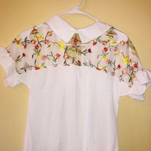 White Blouse with Floral Stitching Detail